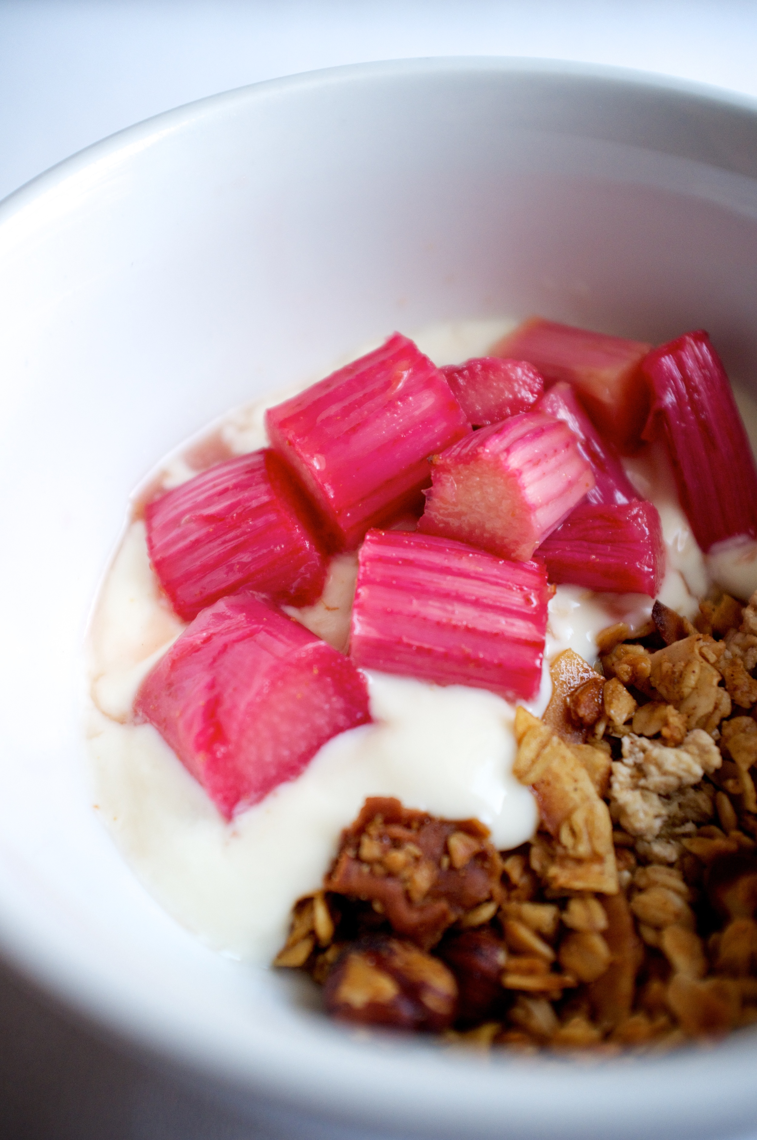 Rhubarb compote, yoghurt and granola.
