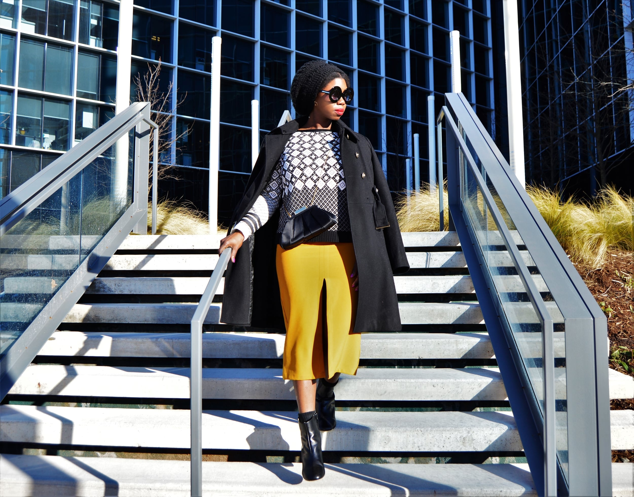 Ankle Boots -   Marimekko, LAUNCHES SPRING 2016  *  Coat - Elie Tahari (old) similar  here  *  Sweater- SI-IAE (sold out) similar  here   * Skirt -  Forever21 (sold out) similar  here  * Satin clutch - Saks on Fifth (old), similar  here    * Knitted cap -handmade * Shades - Blue Seven  (old), similar  here   * Cuff -  House of Harlow  * Lipstick color - Mac Ruby Woo.