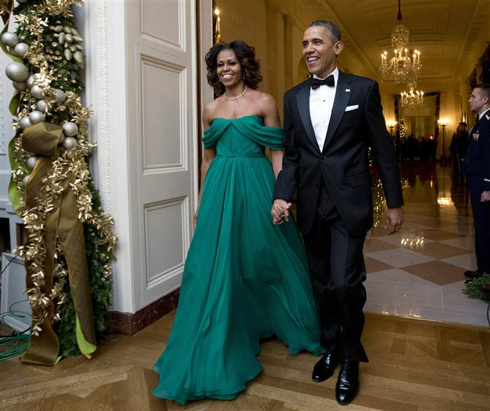 All eyes on the First Lady for the 2013 Kennedy Center Honors Reception in a turquoise jeweled toned Marchesa.