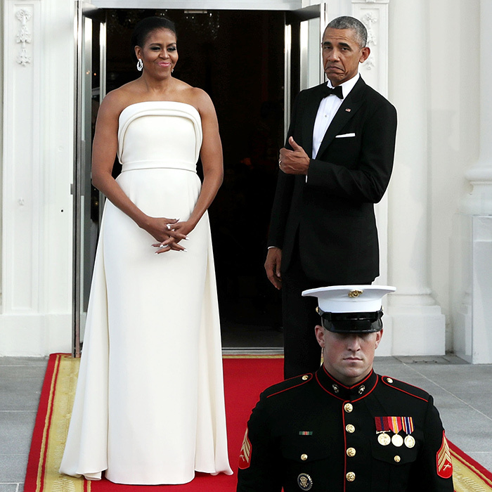 The first lady definitely deserved a thumbs up for this all white draped Brandon Maxwell gown.