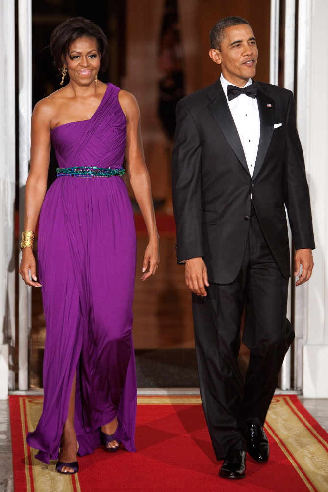 While on hosting duties the First Lady wore a dazzling draped purple one-shoulder gown by Korean-American designer, Doo-Ri Chung.