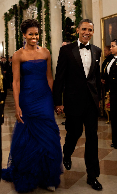 Flotus does it again looking like the belle of the ball in a custom strapless Vera Wang tulle gown with a feathered organza train for the 34th Annual Kennedy Honors.