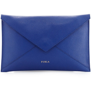 Furla Elle Leather Clutch Bag, Blue Laguna