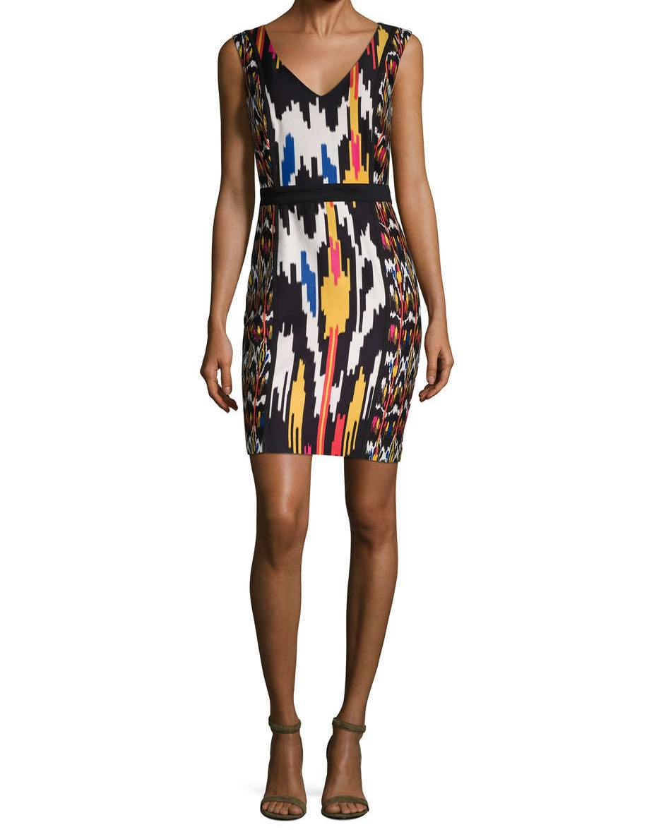 French Connection Matos Print V Neck Sheath Dress