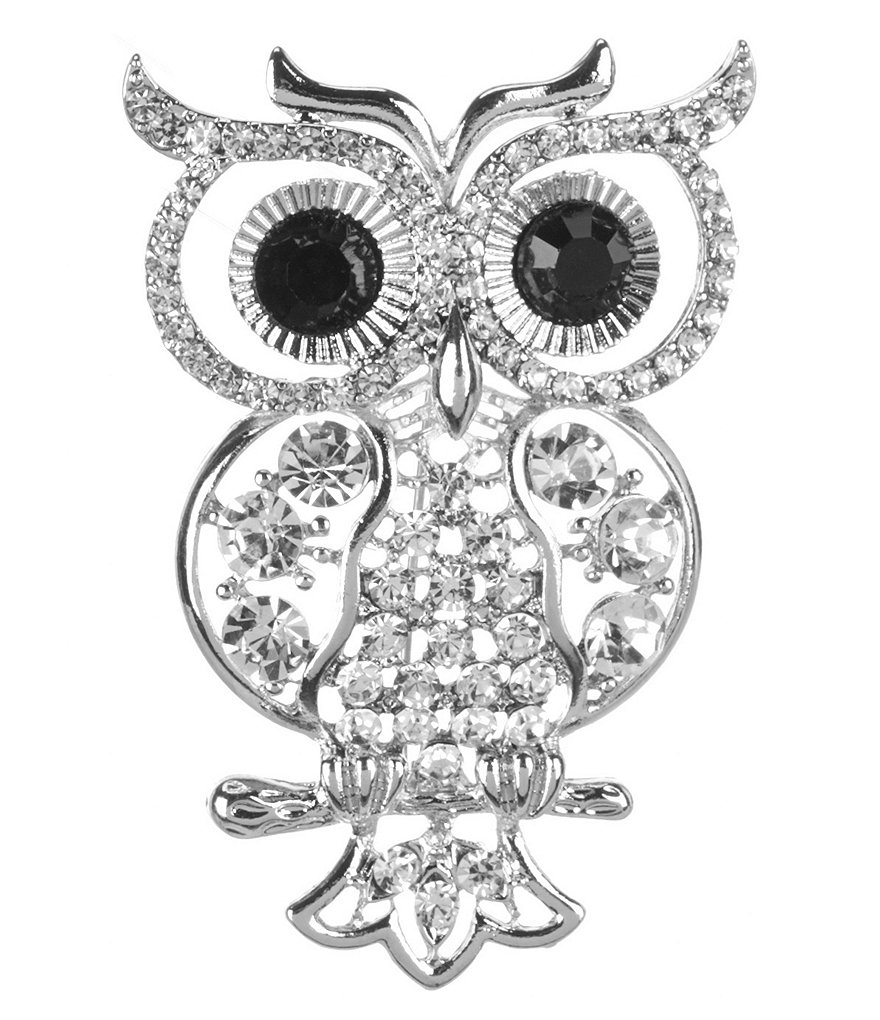 Dillard's Natasha Accessories Crystal Owl Pin