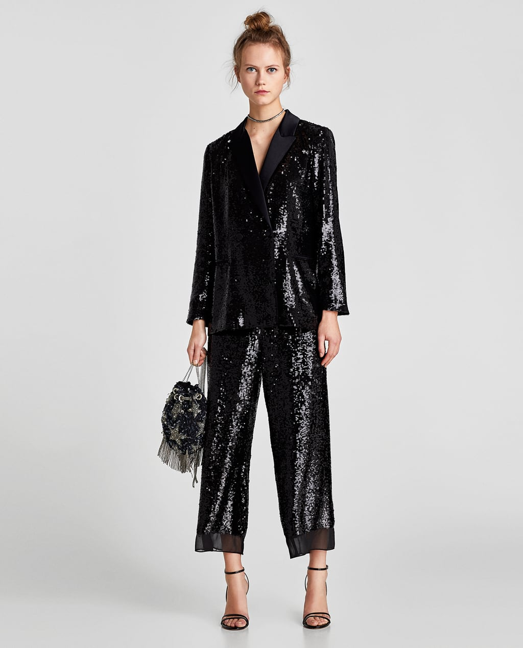 ZARA SEQUINNED DOUBLE-BREASTED BLAZER