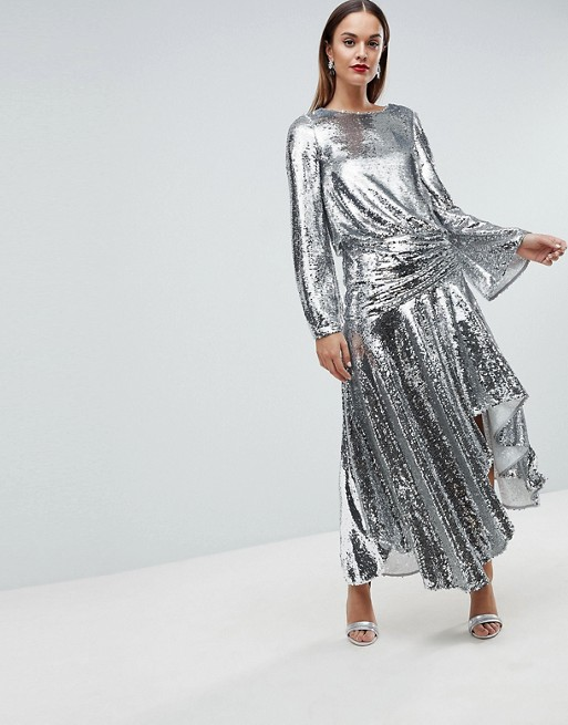 ASOS EDITION Drop Waist All Over Sequin Midi Dress