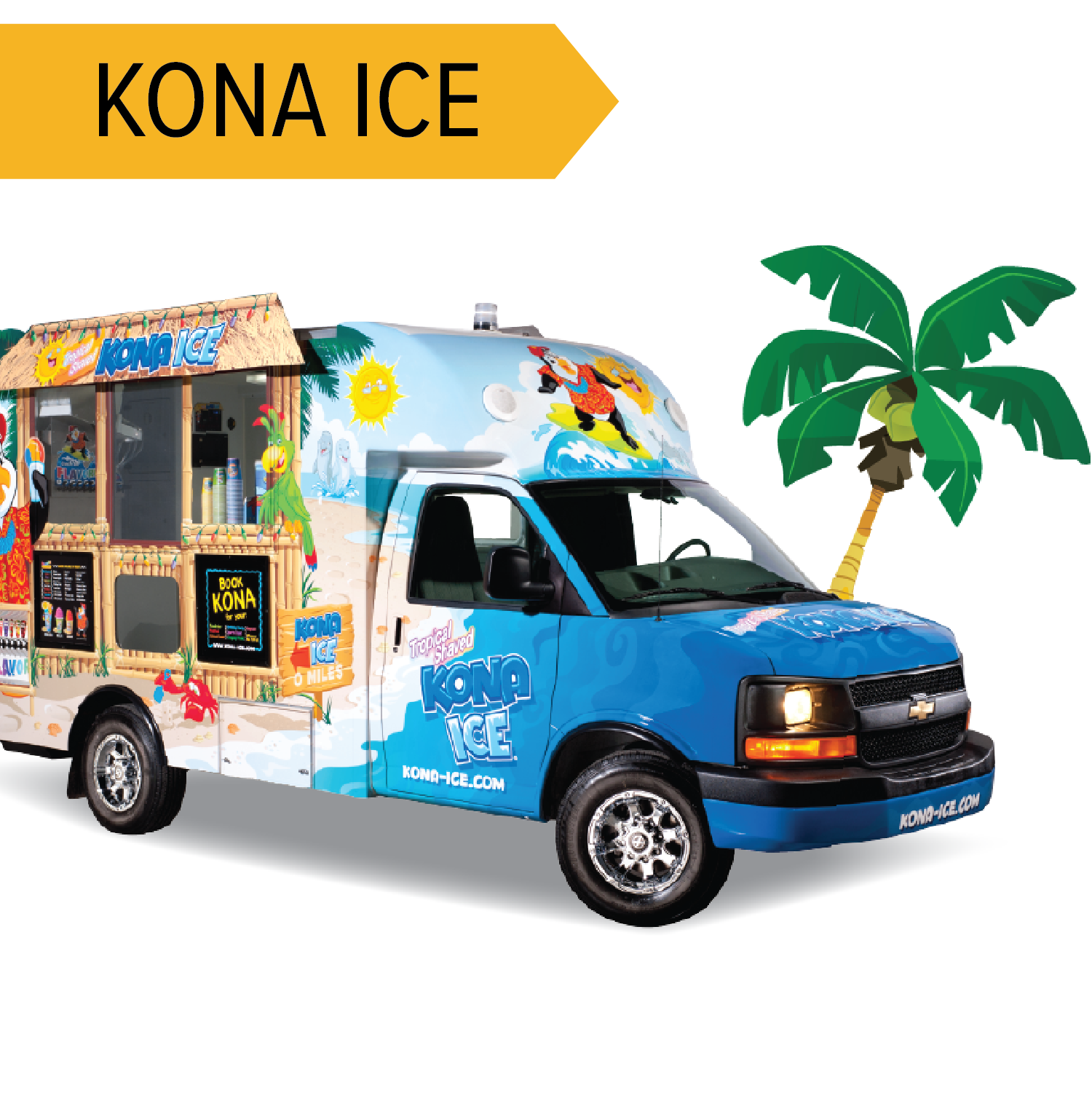 Kona Ice   Shaved Ice in a rainbow of flavors! A little sweet treat to refresh your palette!