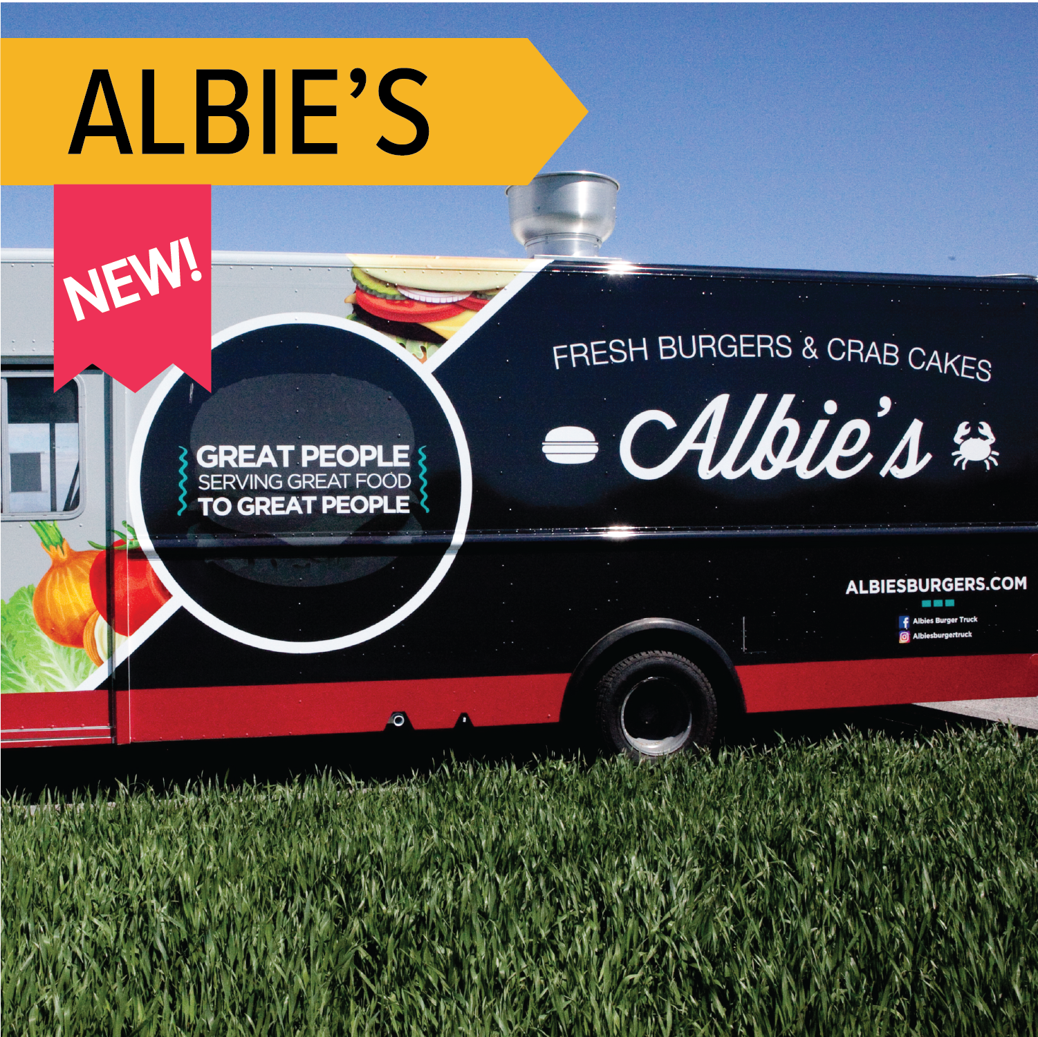 Albie's Burger Truck   Hand crafted burgers and crab cakes makes for a fun twist on surf n' turf