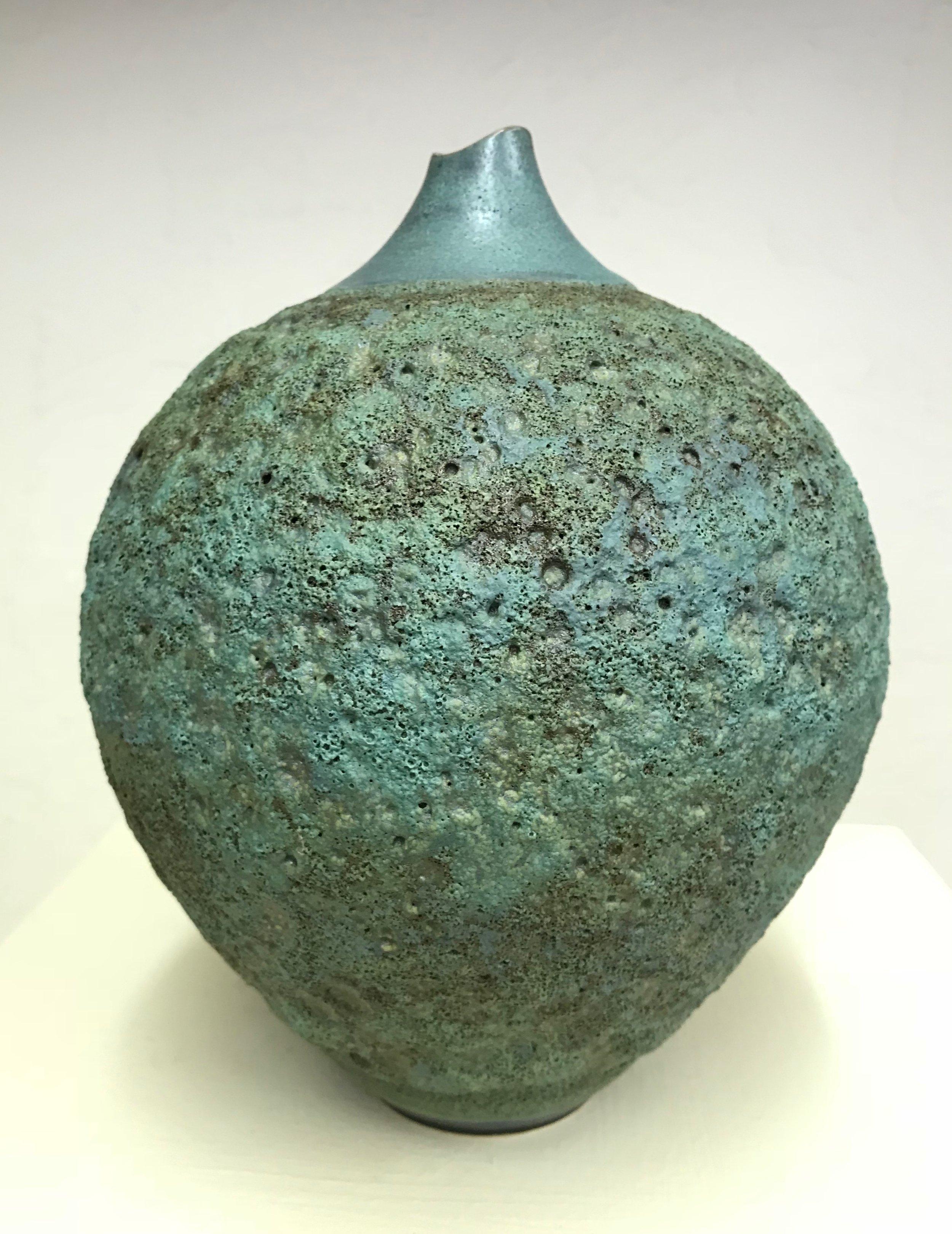 "CRA 36,  Mossgreen crater vase  9""H x 7""W,  $190"