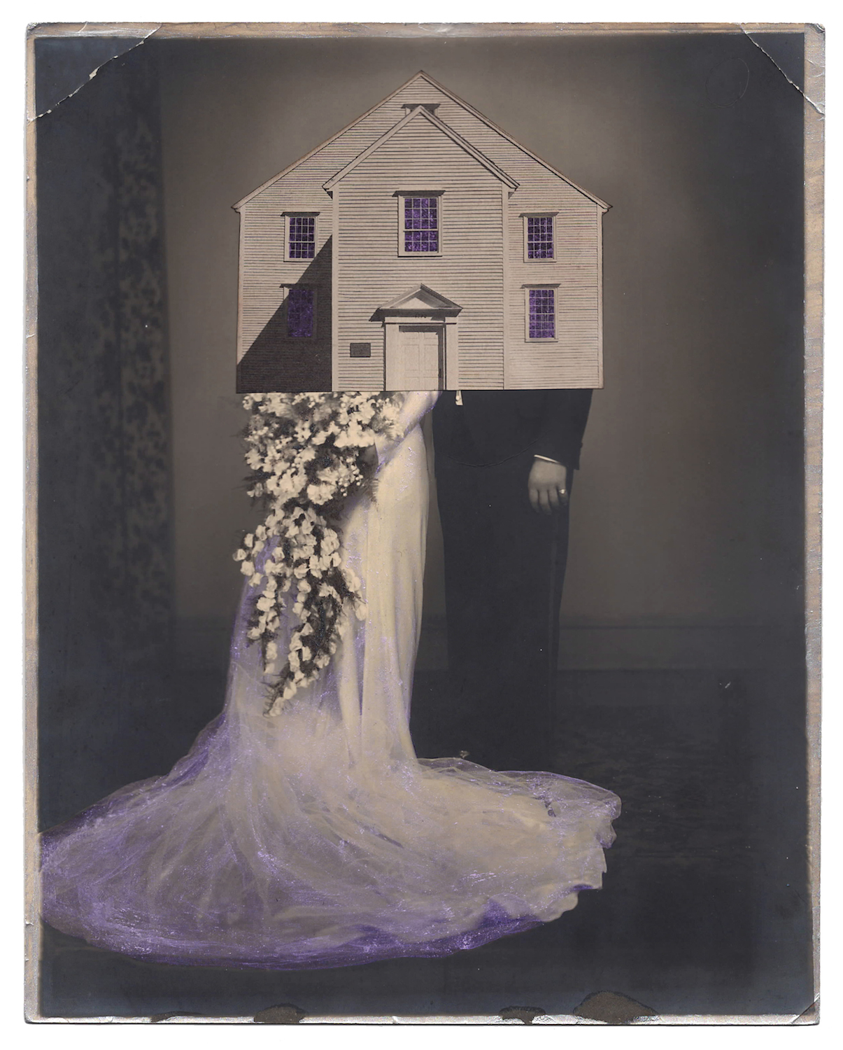 Wedding 7, 2016,Found Photographs, Collage, & Acrylic, 10 x 8 inches