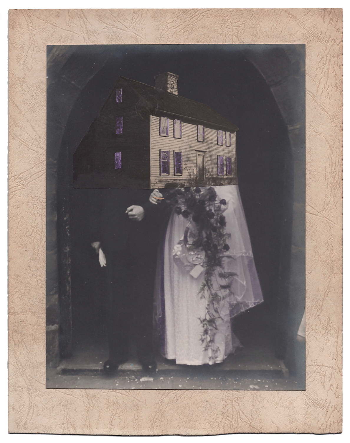 Wedding 10, 2016,Found Photographs, Collage, & Acrylic, 10 x 8 inches