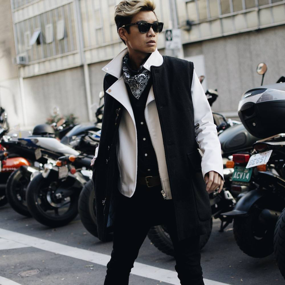 Here, Alex layers the KAHIL long wool vest over his white leather moto jacket, to give him added warmth and a defining detail to his layered outfit.  http://goo.gl/yf7qia