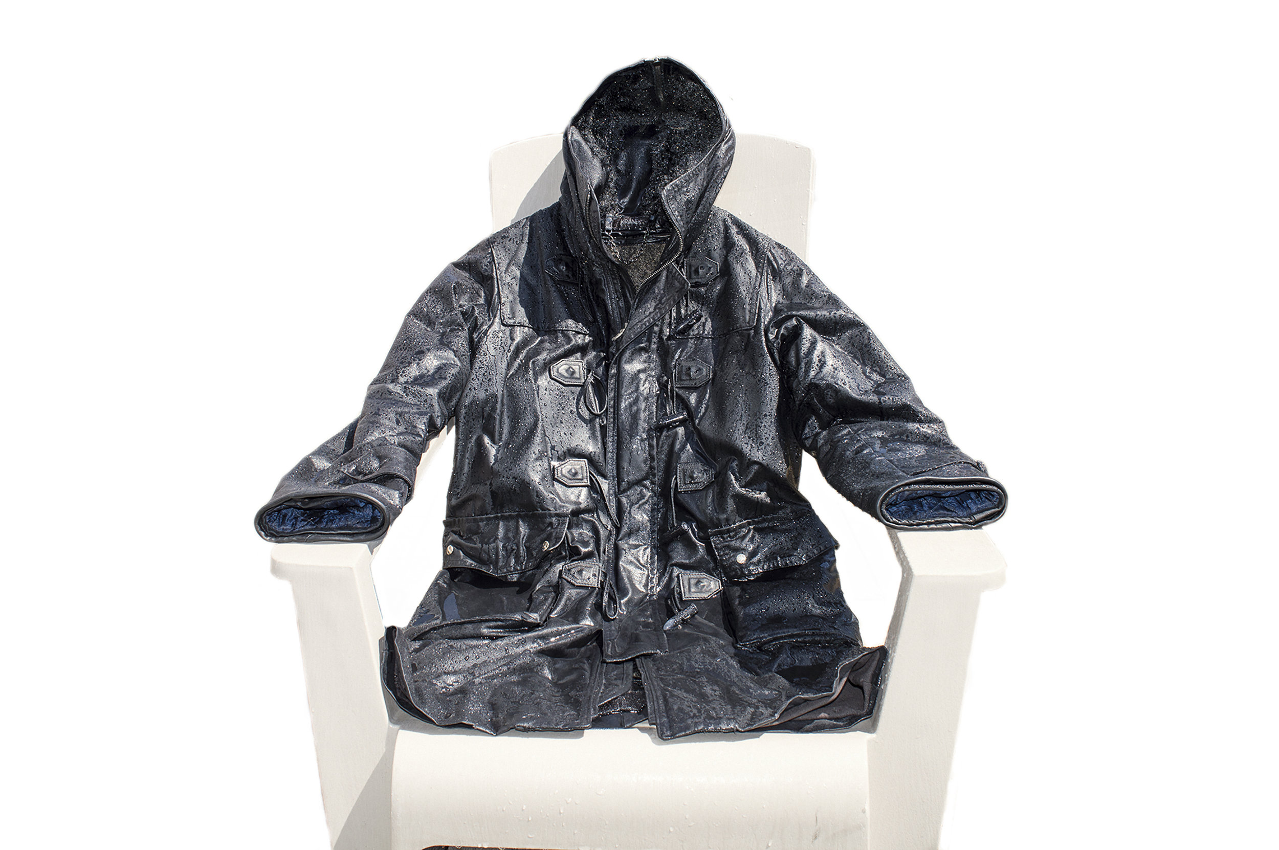 plastic or composite fibre chairs are a nice clean surface for the coat to dry in also. Be sure to flip the coat periodically based on the strength of the heat.