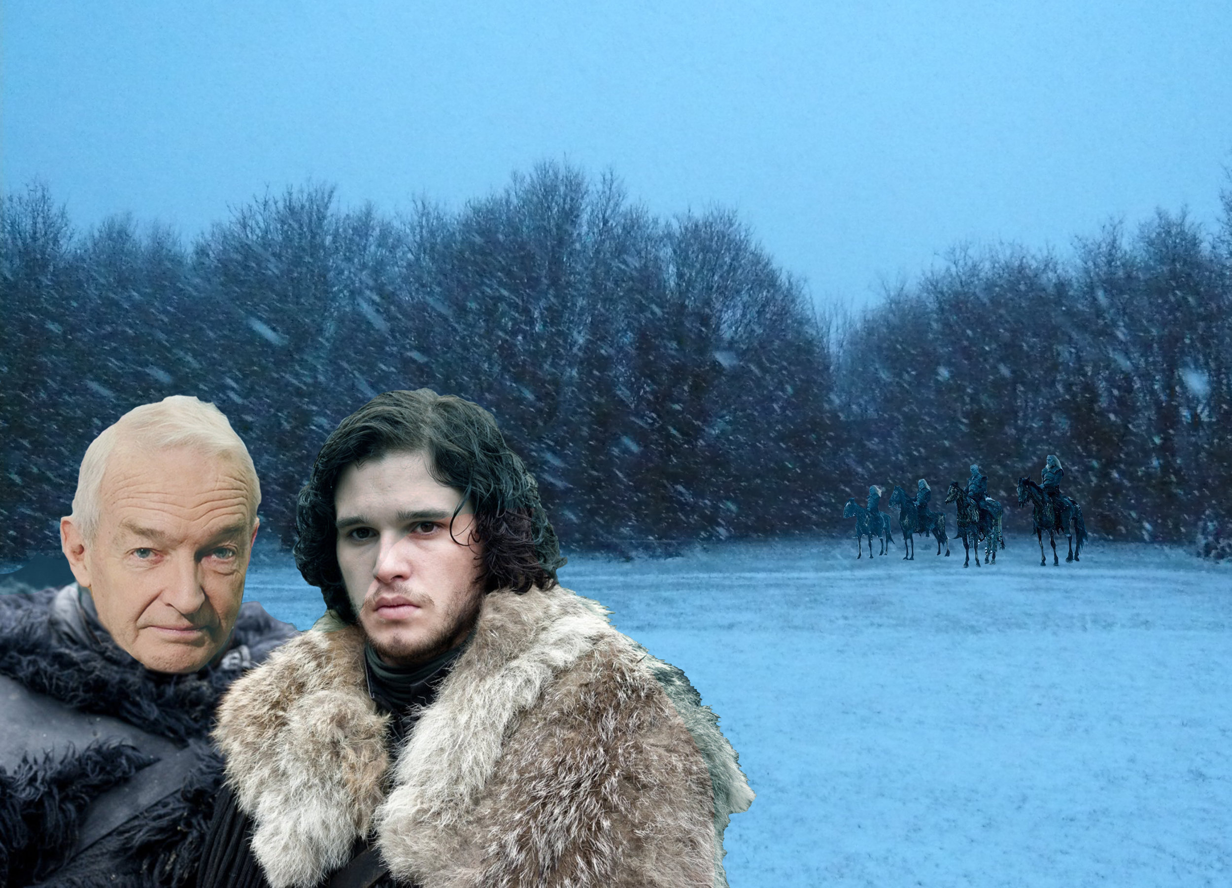 Newsreaders and mythical characters from made up worlds were caught out by the sudden blizzard