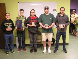 From left Jackie Liu, John Ludwig, Kai Tabor, Ricky Durbin and Zachary Robertson (not included were Martin Hansen and Aarush Prasad).
