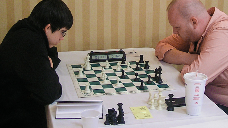 John Ludwig (2414) (L) vs. Cory Acor (2365) (R), Board One, Round 4, CFCC Orlando Autumn Open & National Chess Day Tournament.