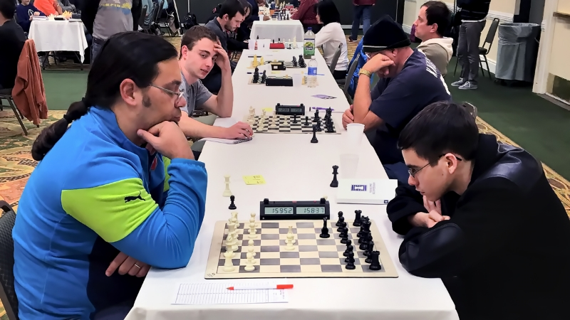 Board One, Final Round, Miguel Recio(L) (2154)vs John Ludwig (R) (2448) for the 2016 CFCC Class Championship, where the very talented John Ludwig would go on to win with a perfect 5-0 score in the Master/Expert Section!