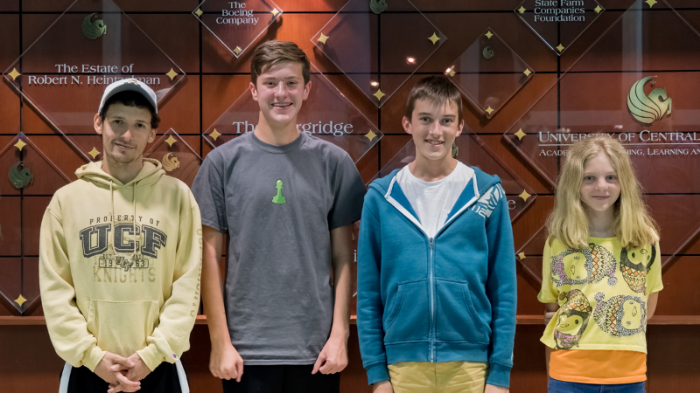 Winners of CFCC's 2016 May Tornado, (L-R): Arnold Banner (1733, tied for 3rd), Ryan Hamley (1873, 1st place), Theodore Slade (2061, 2nd place) & Zoe Zelner (1708, tied for 3rd)!