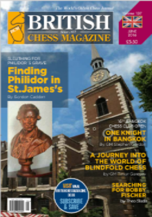 This article was published in the 2016 June issue of  British Chess Magazine (BCM) , which began in 1881 and is the world's oldest chess magazine.Theo Slade (2059), a new Orlando resident from Cornwall, England, is their youngest ever staff writer, starting when he was only 12 years old! Theo has been writing regularly for BCM for three years and has agreed to share his articles with the CFCC community.