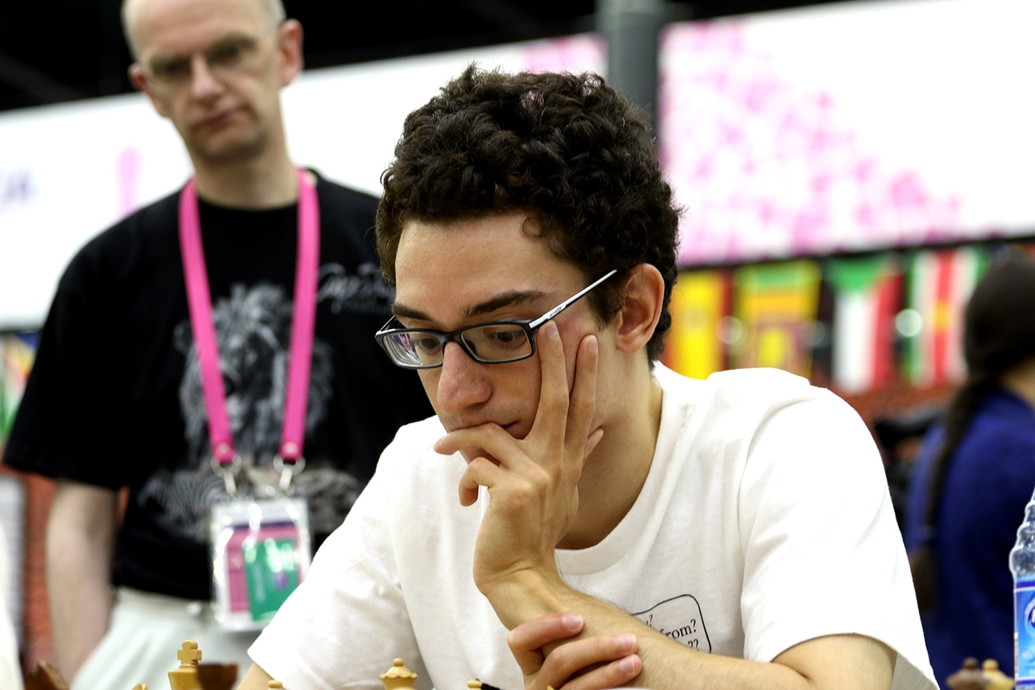 Thanks to Fabiano Caruana, the USA defeated Ukraine in a crucial match. Photo credit:  Baku Chess Olympiad