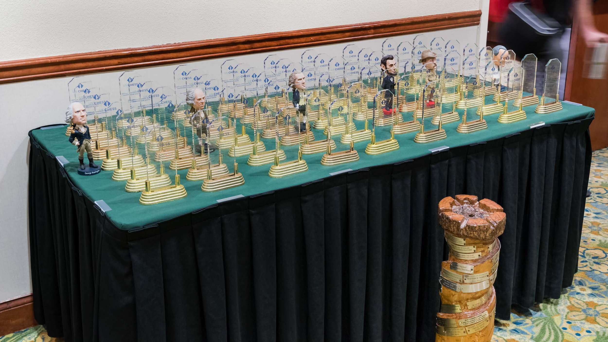 2017 US Amateur Team South Awards Table along with the wooden Rolling Rook Team Trophy. The presidential figurines were added by event organizer/host in honor of the President's Day weekend tournament.