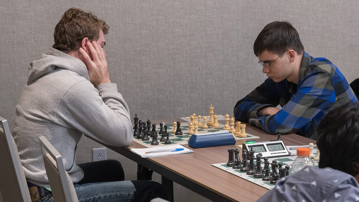 Board One, Round 2, with UCF's Nick Moore (2144) (L) vs John Ludwig (2463) (R) in the CFCC Class Championship last weekend in south Orlando.