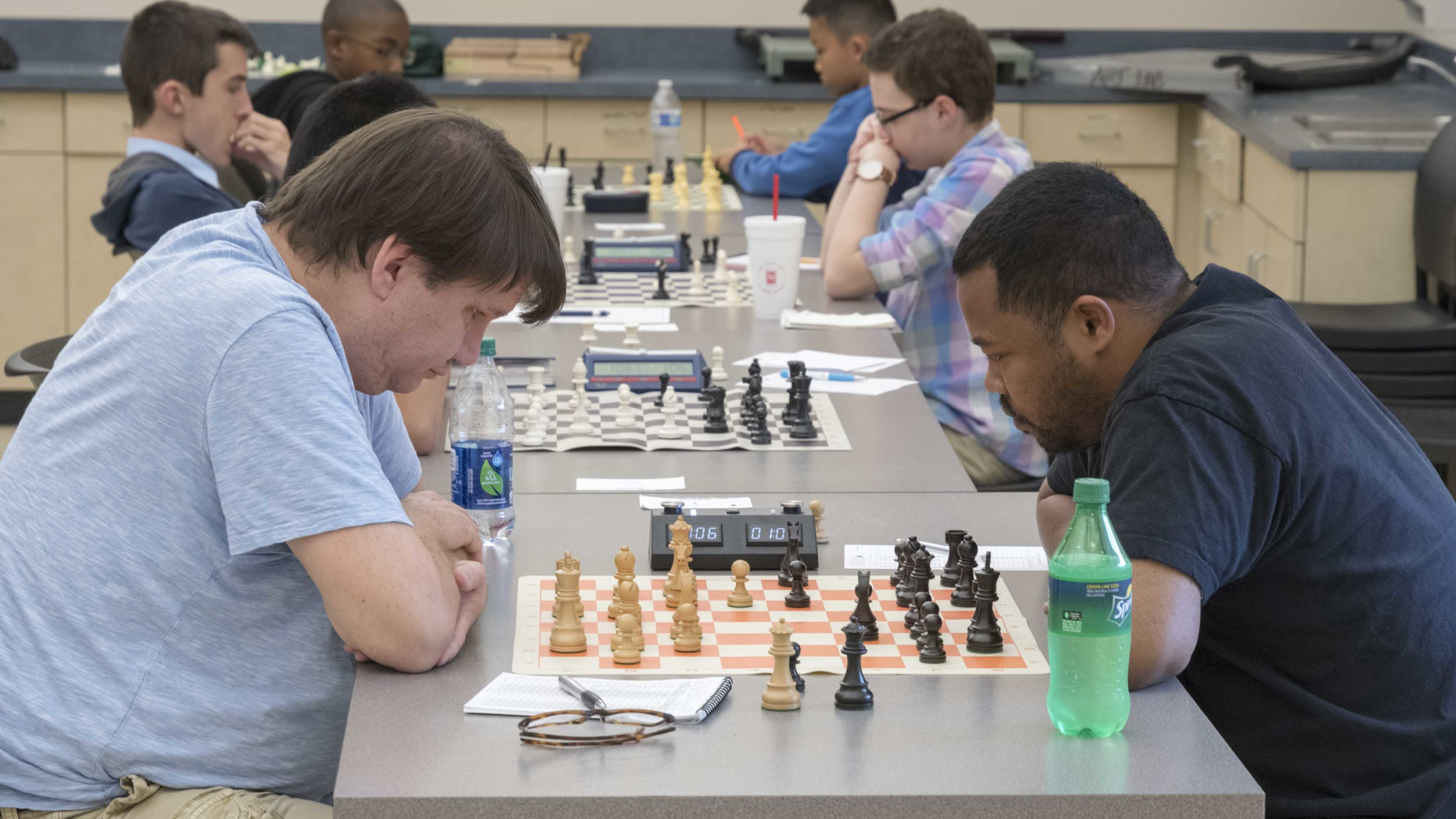 Final round, board 1, Todd Durham (1813) (L) vs Anthony Coleman (1885) (R), CFCC May Tornado held at the UCF Teaching Academy.