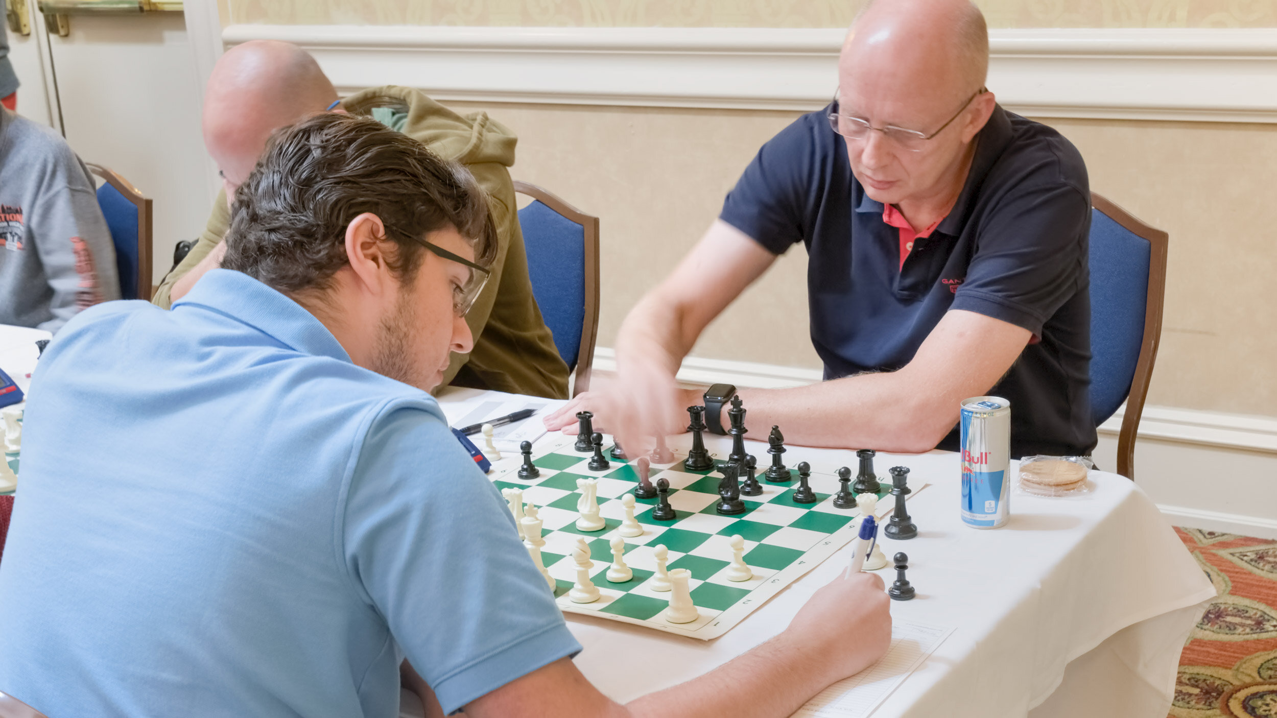 Round 4, Board 1, Ryan Hamley (L) (2196) vs Han Schut (R) (2264), in their game that concluded with a draw.