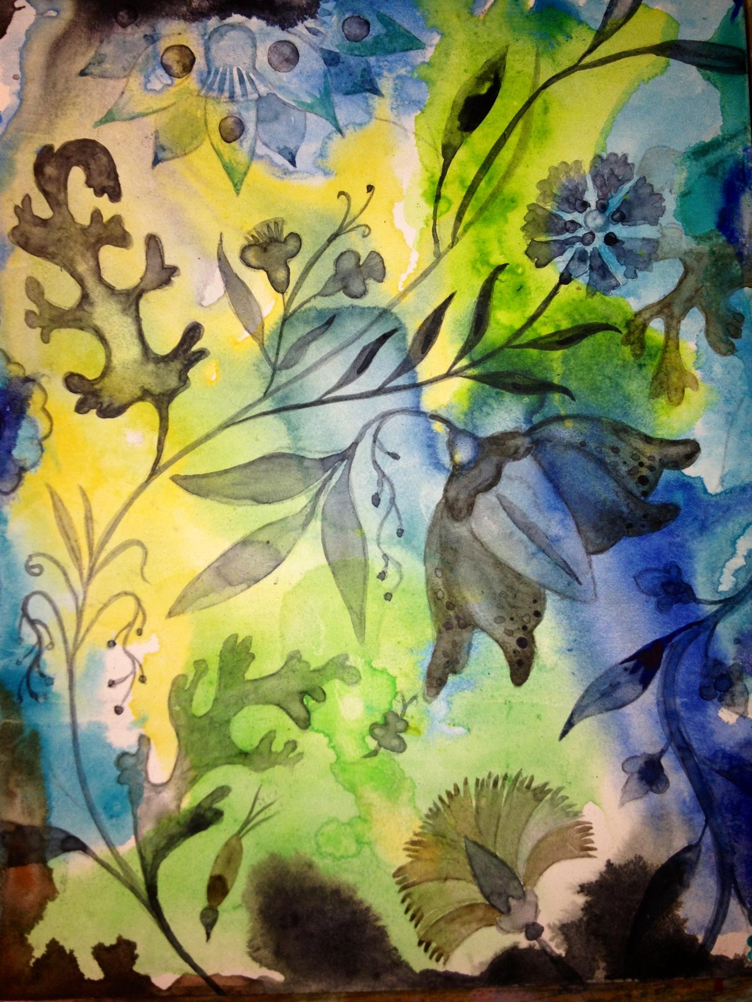 """Aqua Garden III, watercolor on paper on panel, 10"""" x 8"""""""