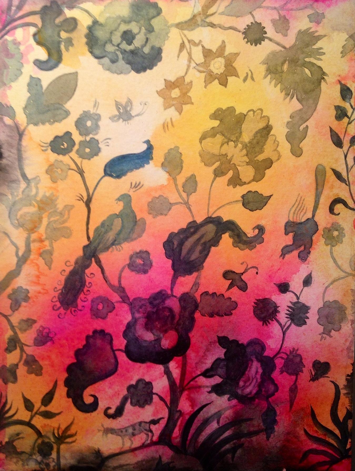"""Aqua Garden II, watercolor on paper on panel, 10"""" x 8"""""""