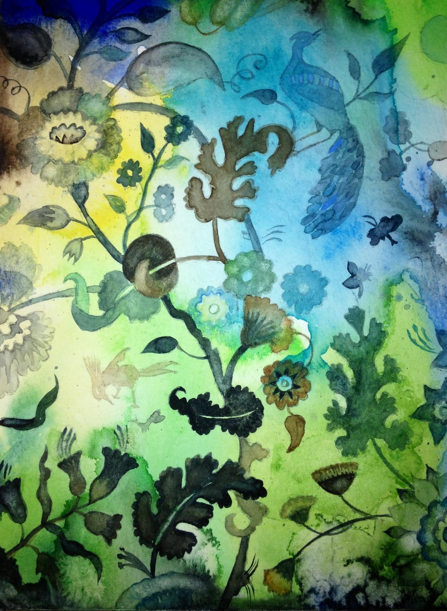 "Aqua Garden I, watercolor on paper on panel, 10"" x 8"""