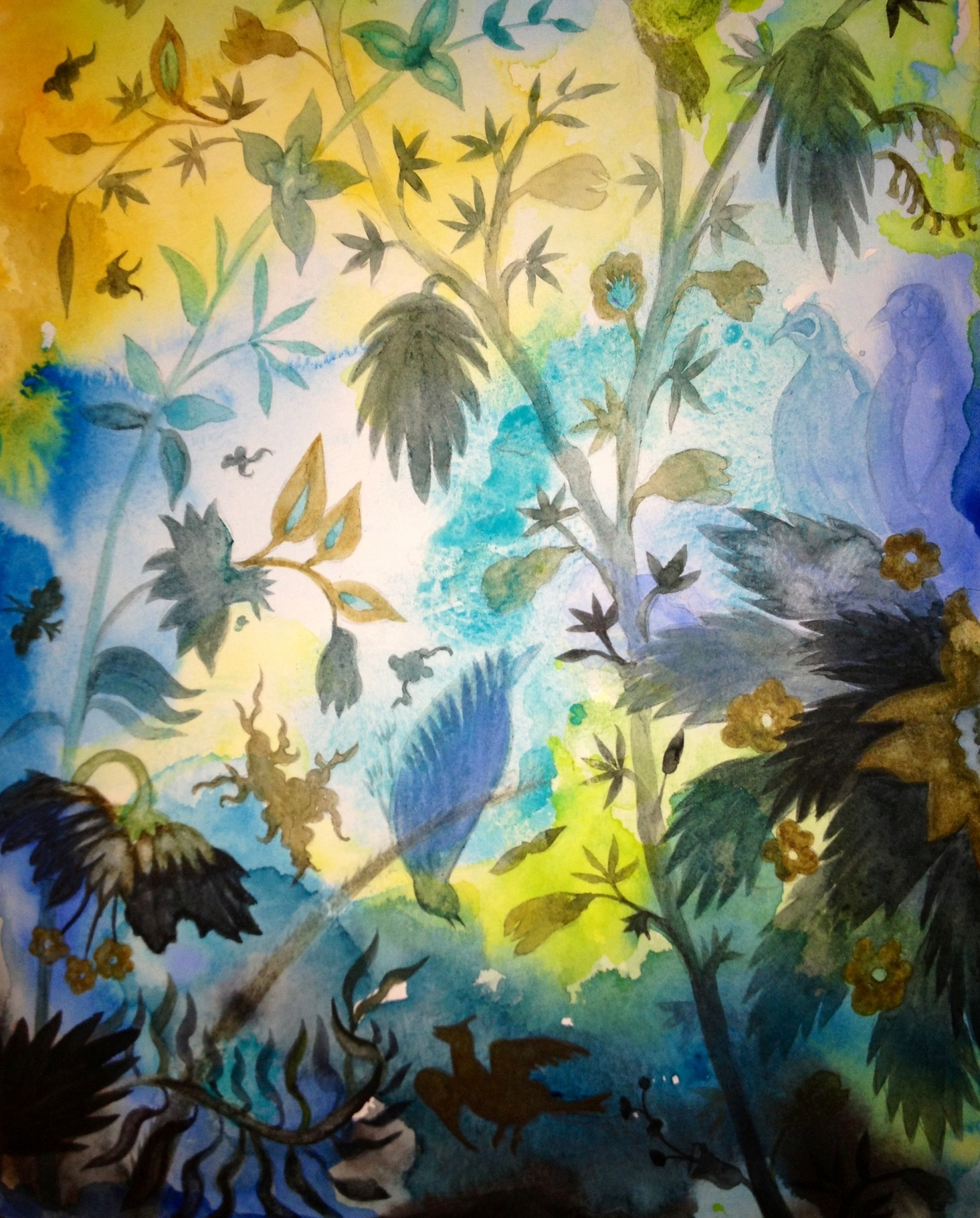 "Aqua Garden IV, watercolor on paper on panel, 10"" x 8"""