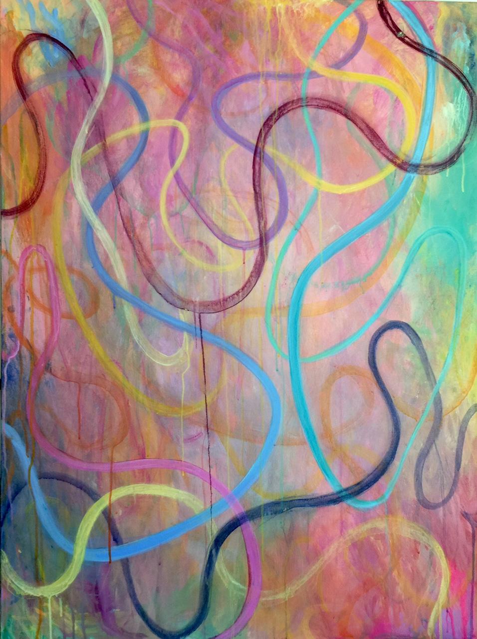 """COLOR GARDEN IX, 40"""" x 30"""" , mixed media on canvas, 2015"""