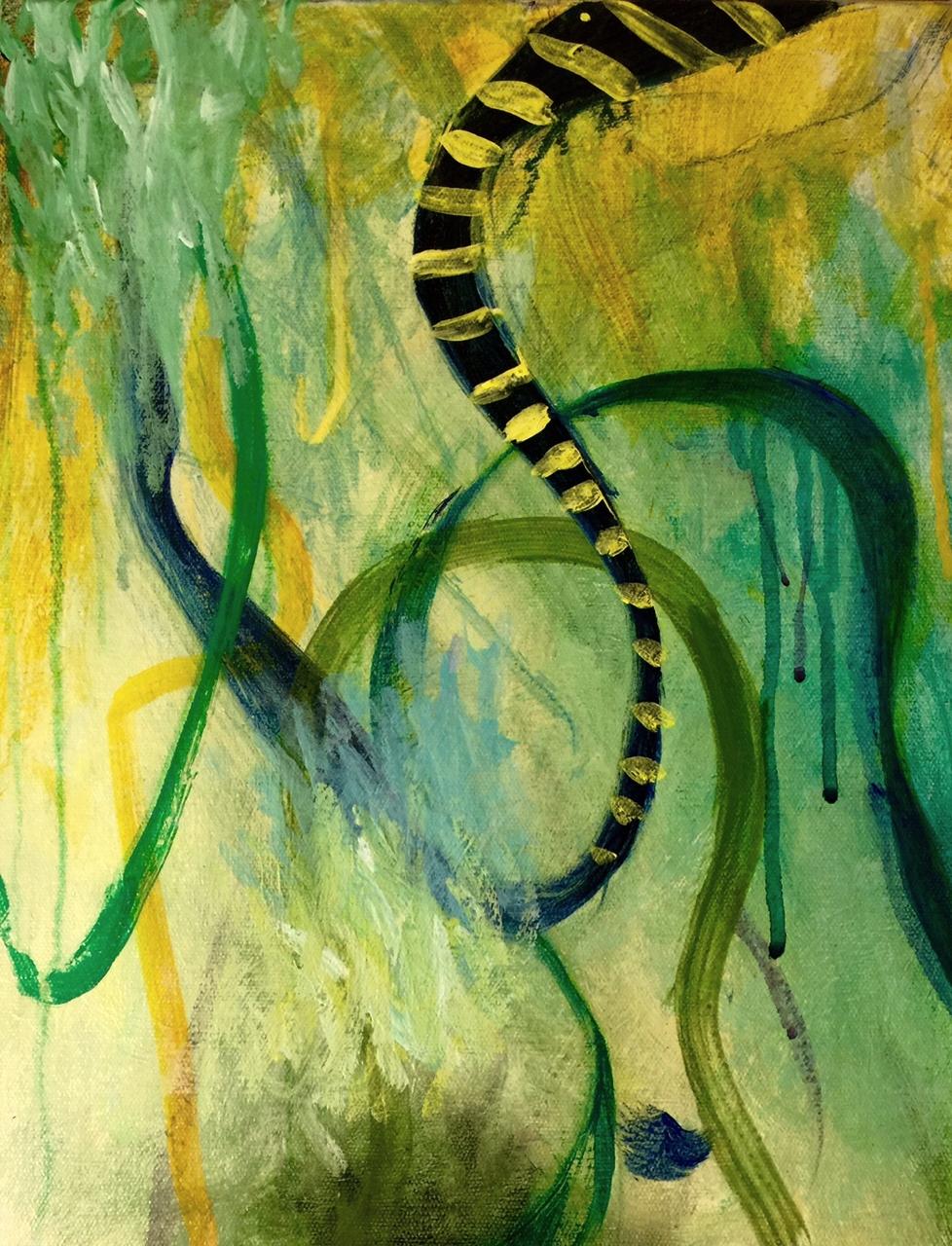"BLUE TANGLE II, 11"" x 14"" , mixed media on canvas, 2015"