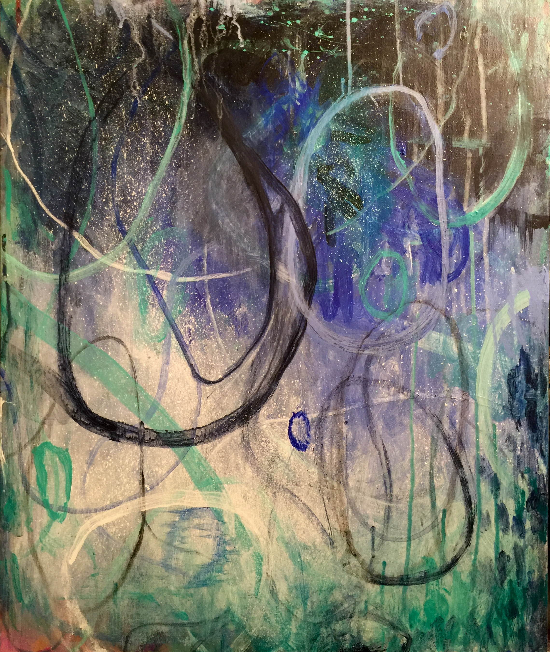 "Betsy Bauer    ""Blue Corn I"", 24"" x 20"", mixed media on canvas"