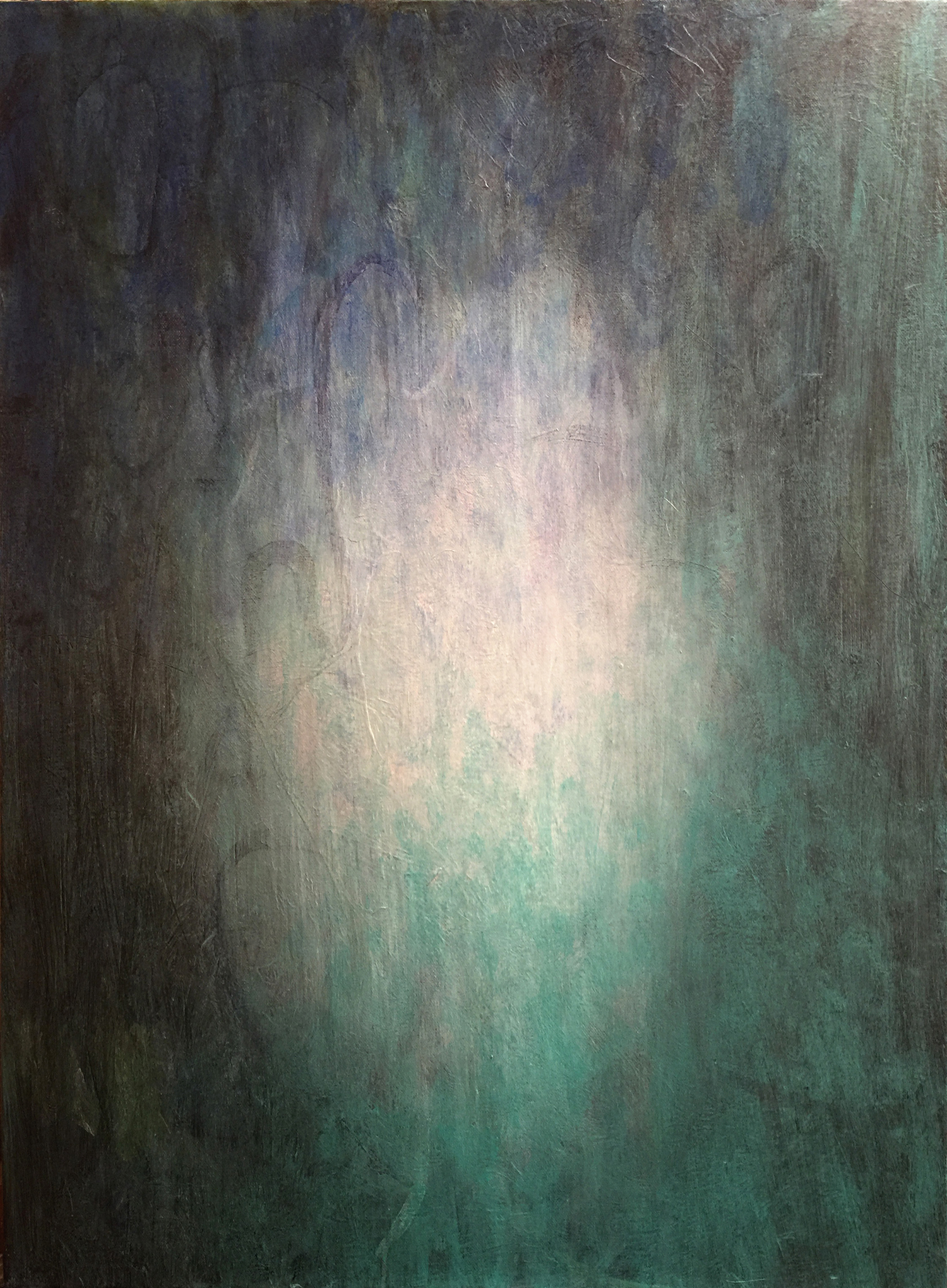 "Betsy Bauer    ""Ancestral Waters"", 30"" x 24"", mixed media on canvas"