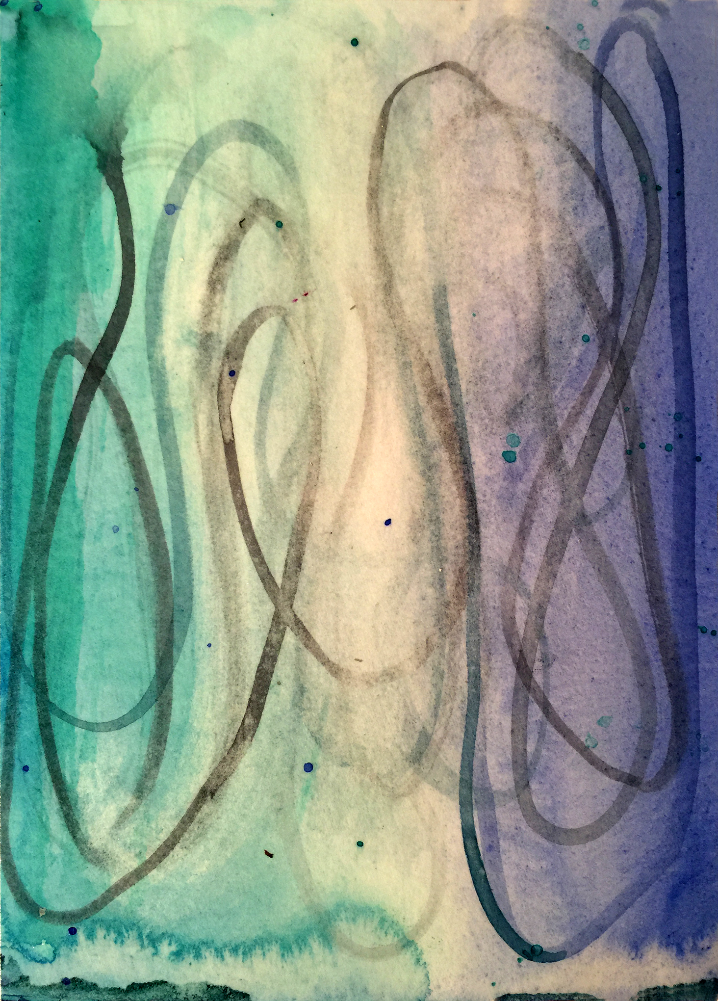 "Betsy Bauer     ""Acqua II"", 7 1/2"" x 5"", watercolor on paper"