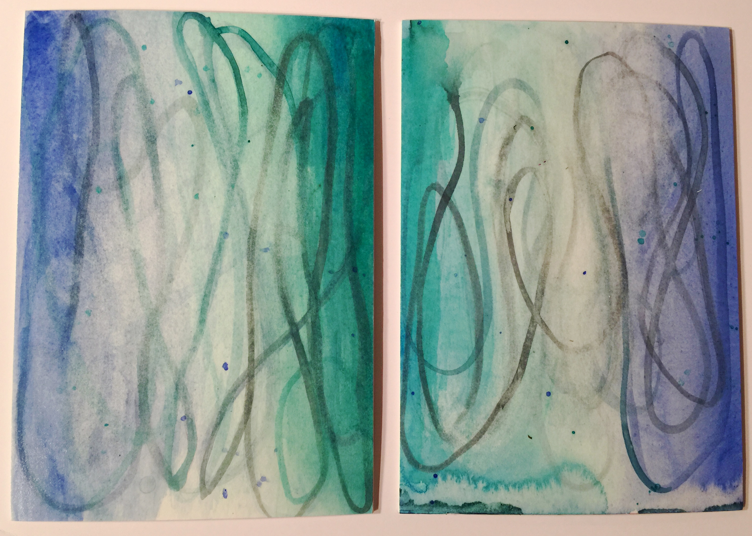 "Aqua I & II, watercolor on paper, 8"" x 5.5"", 2016"