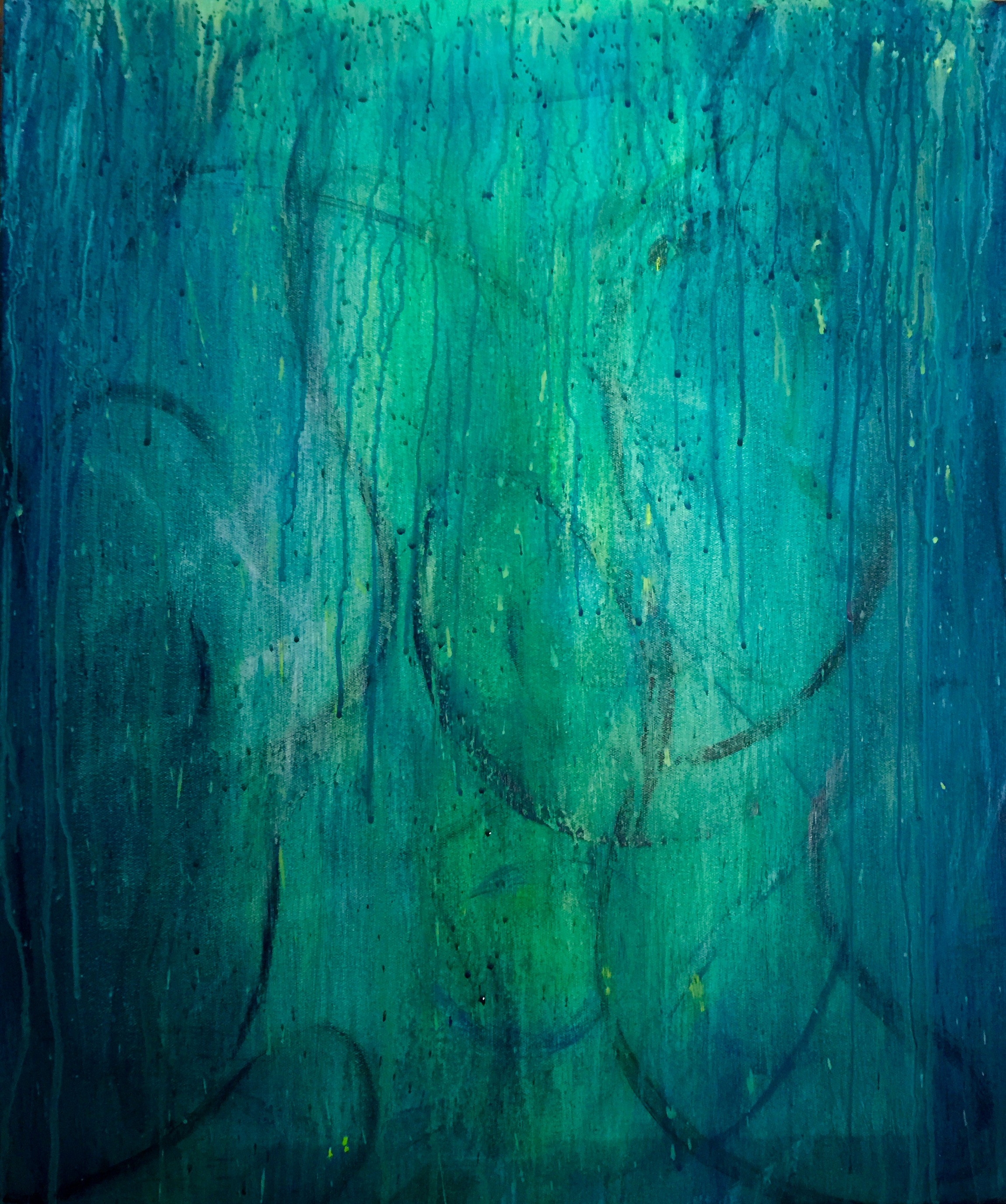 "Betsy Bauer    ""Pistachio Blue II"", 16"" x 12"", mixed media on canvas"
