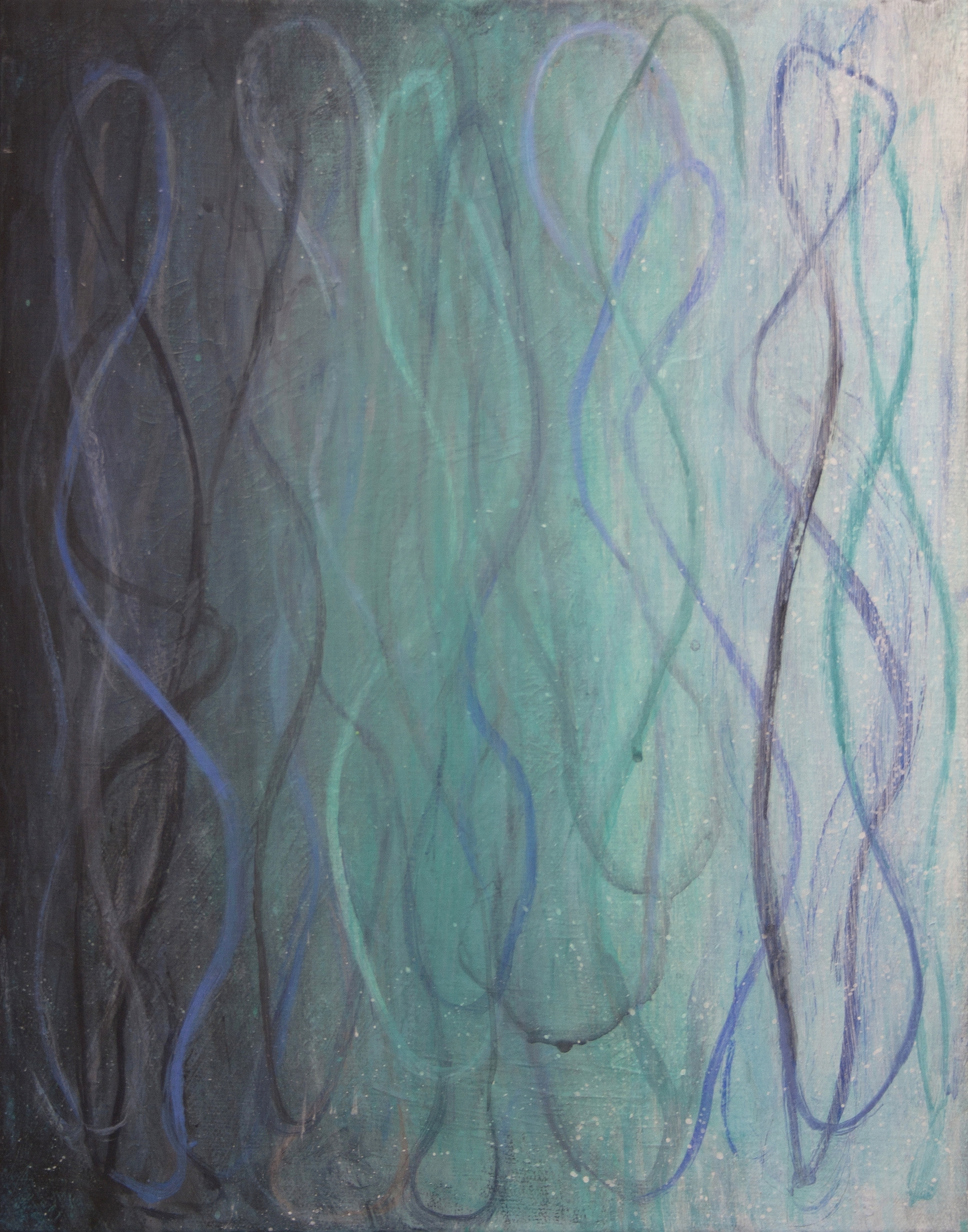 "Betsy Bauer    ""Blue Tangle II"", 14"" x 11"", mixed media on canvas"