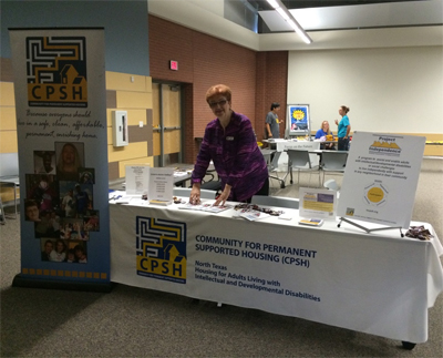 Irene Niemotka (shown) and Pam Melton showed Lewisville ISD Transition Fair participants some of the CPSH activities and encouraged them to attend the presentation about CPSH in a nearby classroom.