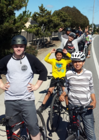 Mentors and participants in the Watsonville Earn-a-Bike Program on a group ride.