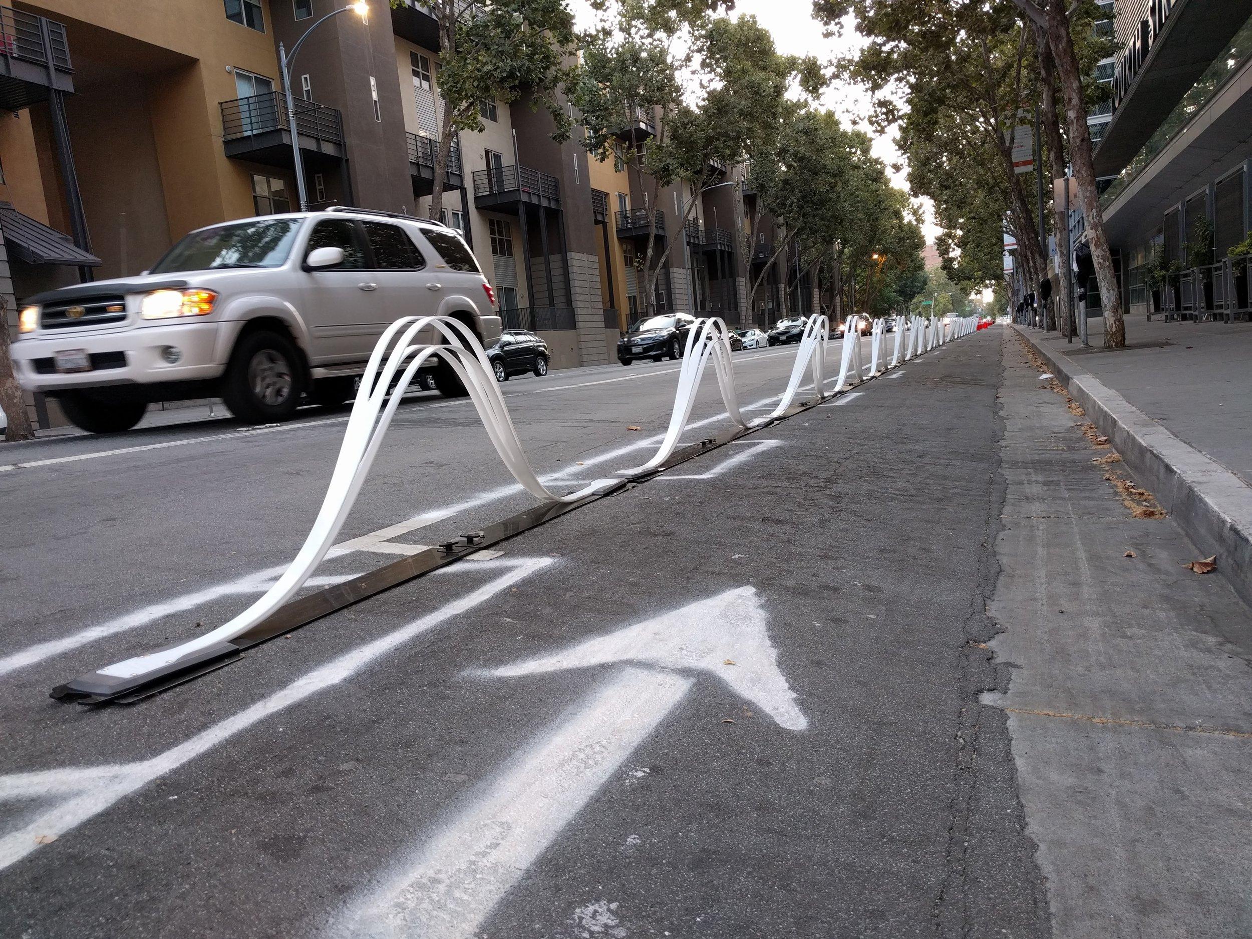Pop-up protected bike lane in San Jose, CA. Photo credit: City of San Jose