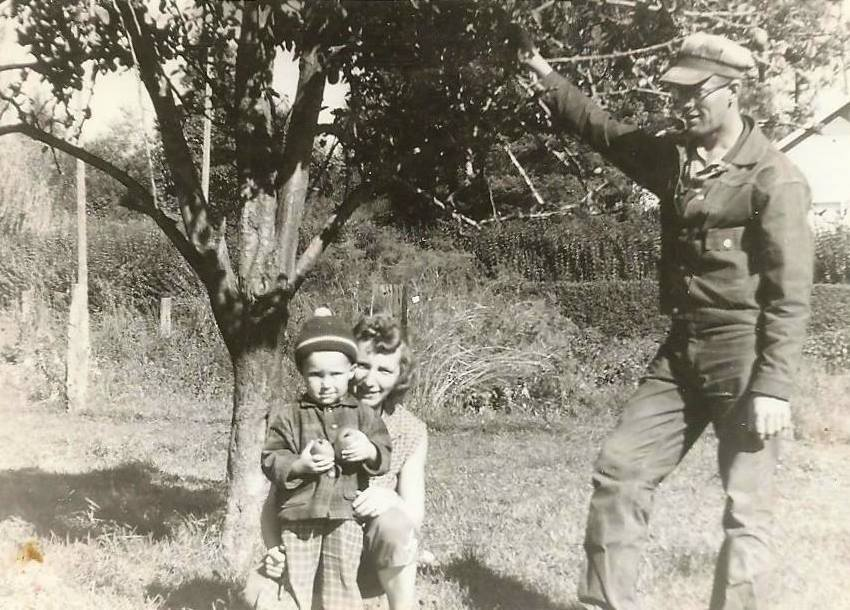 Murray (age 3), Martha and Herman Siemens on the farm in the early years.