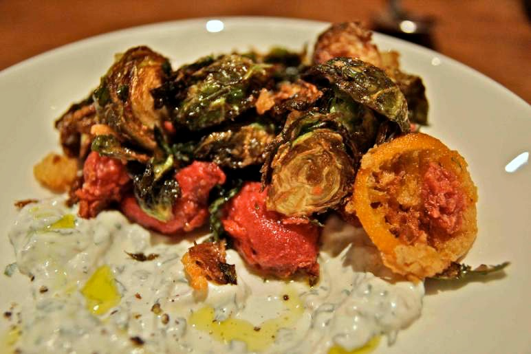 Fried Brussels Sprouts, Pickled Beets and Herbed Yogurt