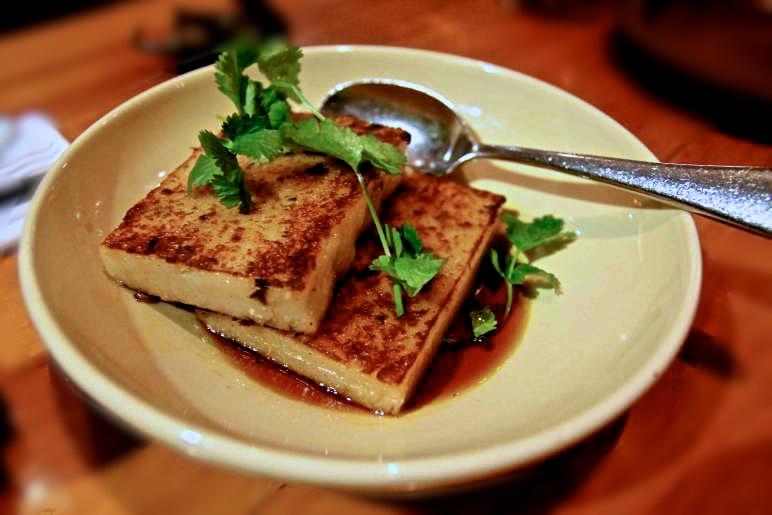 Daikon rice cakes, shiitake mushroom, shallot, sweet chili soy