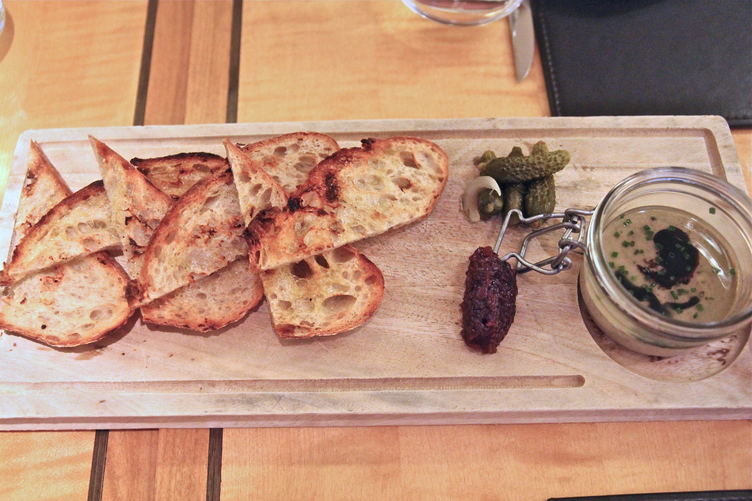 Liberty Farms duck liver pâté served with red onion marmalade and grilled levain
