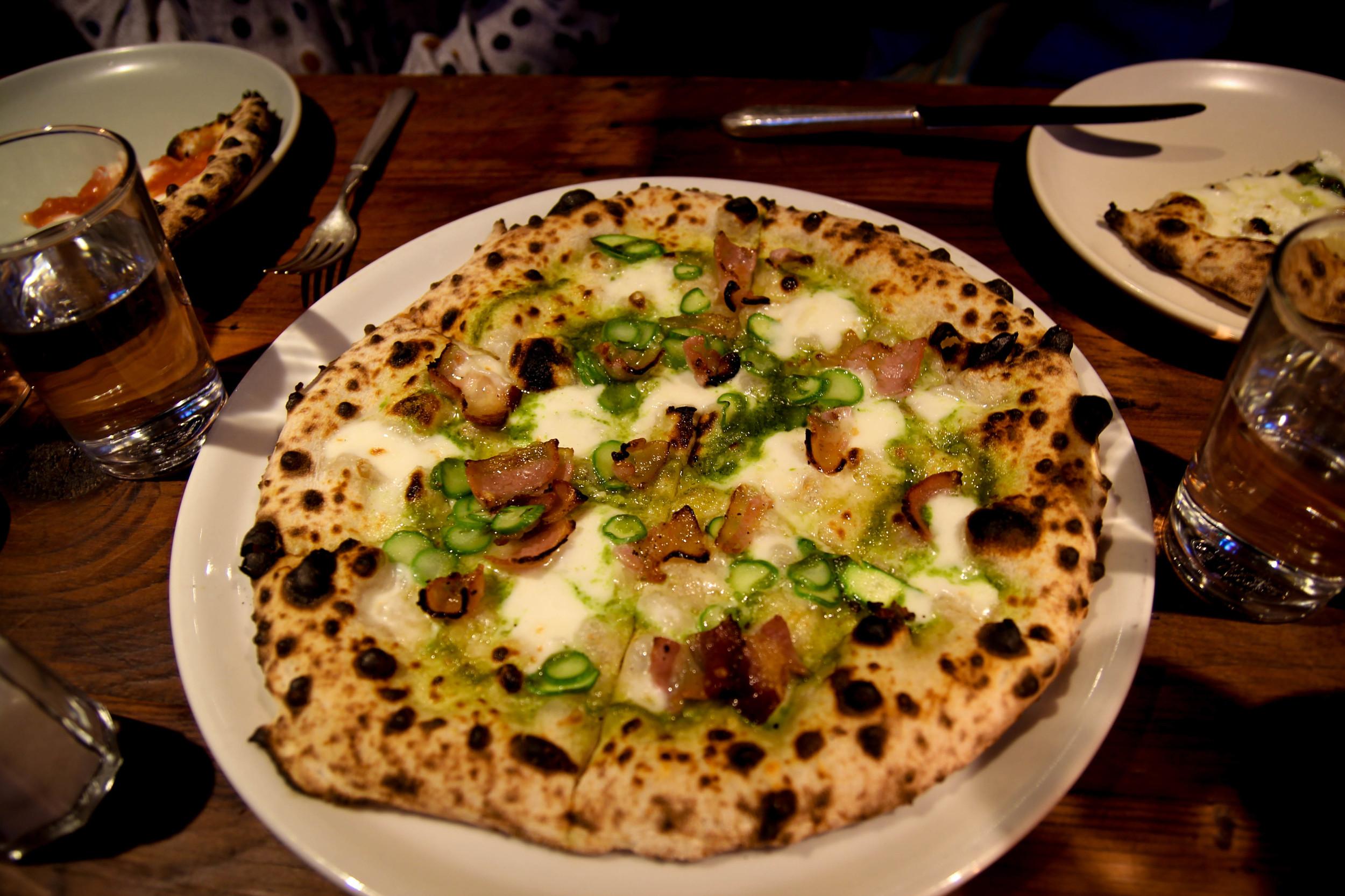 Asparagus: mozarrella, house pancetta, arugula pesto, pecorino