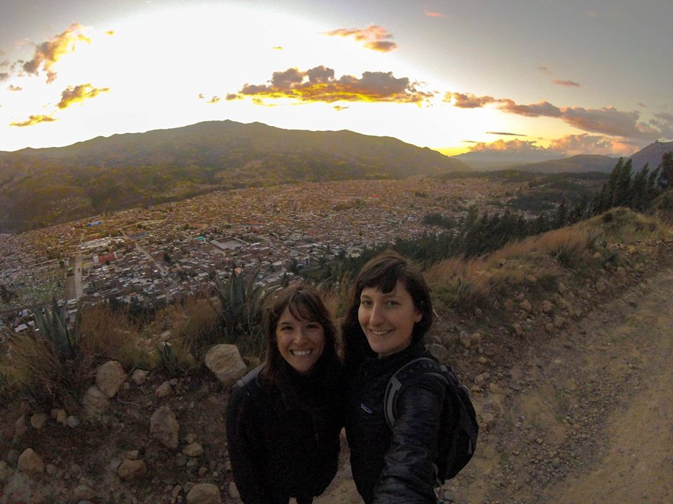 View of Huaraz at sunset from the Rataquenua with Sophie (left) and Shane (right).